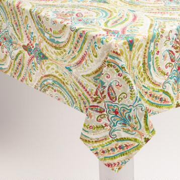 Multicolor Floral Ogee Cotton Tablecloth
