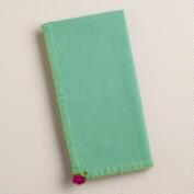 Aqua, Green and Pink Flower Crochet Napkins, Set of 4