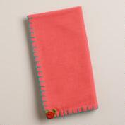Coral and Aqua Flower Crochet Napkins, Set of 4