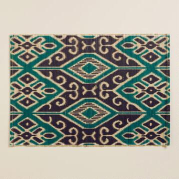 Turquoise and Black Ikat Valetta Placemats, Set of 4