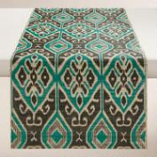 Turquoise and Black Ikat Valetta Table Runner