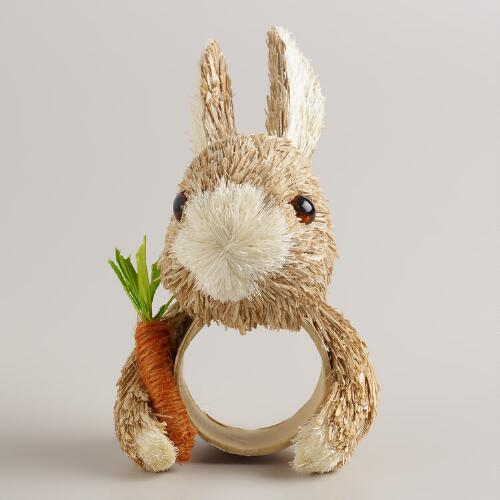 Bunny and Carrot Napkin Rings, Set of 4