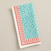 Coral and Aqua Geo Cotton Napkins, Set of 4
