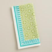 Aqua and Green Geo Cotton Napkins, Set of 4