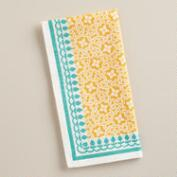 Yellow and Aqua Geo Cotton Napkins, Set of 4