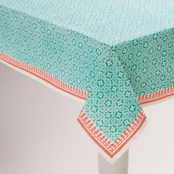 Aqua and Coral Geo Cotton Tablecloth