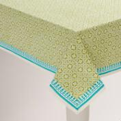 Green and Aqua Geo Cotton Tablecloth