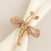 Jute Dragonfly Napkin Rings, Set of 4