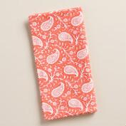 Coral Ditzy Paisley Napkins, Set of 4