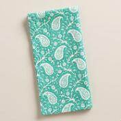 Aqua Ditzy Paisley Napkins, Set of 4