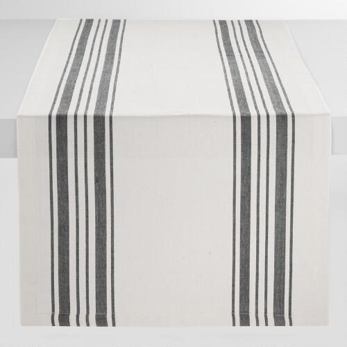 Black Villa Stripe Table Runner