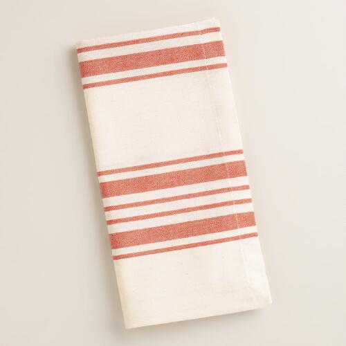 Orange Villa Stripe Napkins, Set of 4