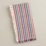 Red, White and Blue Herringbone Napkins,  Set of 4