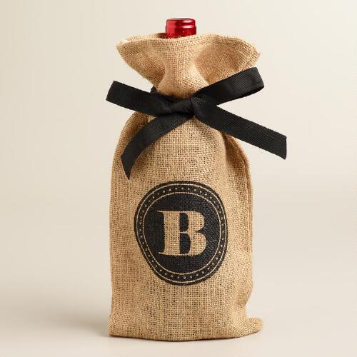 """B"" Monogram Jute Wine Bag"