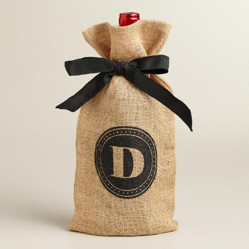 """D"" Monogram Jute Wine Bag"