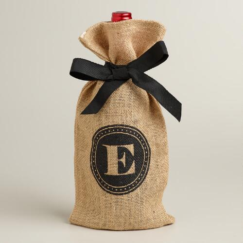 """E"" Monogram Jute Wine Bag"
