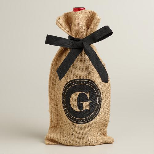 """G"" Monogram Jute Wine Bag"