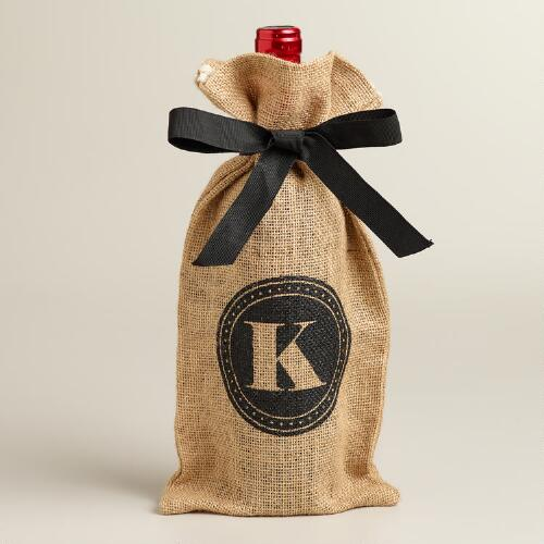 """K"" Monogram Jute Wine Bag"