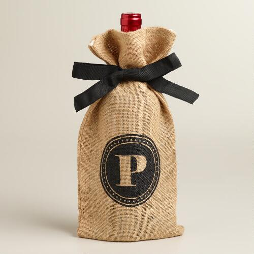 """P"" Monogram Jute Wine Bag"