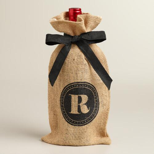 """R"" Monogram Jute Wine Bag"