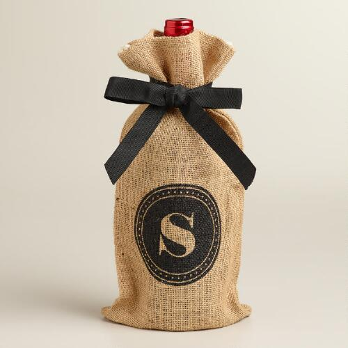 """S"" Monogram Jute Wine Bag"