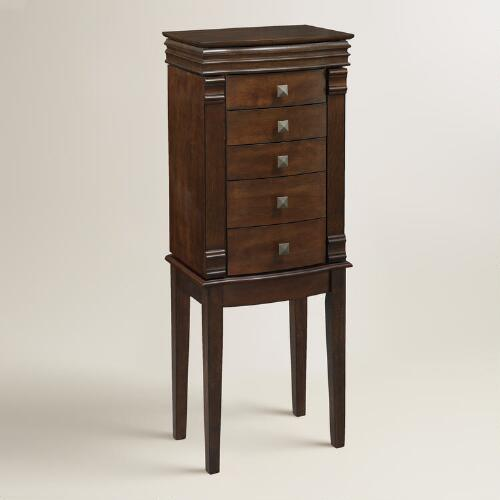 Walnut Brown Kari Jewelry Armoire