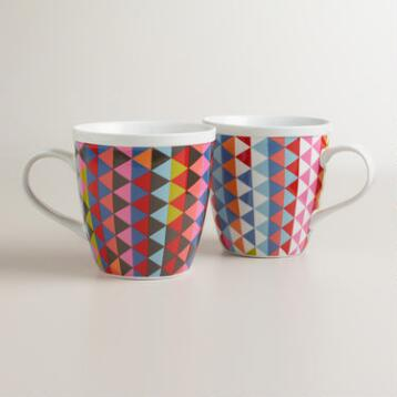 Geometric Holland Park Porcelain Mugs, Set of 2
