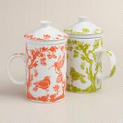 Boulevard Graphic Porcelain Infuser Mugs, Set of 2