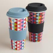 Geometric Holland Park Porcelain Non-Paper Cups, Set of 2