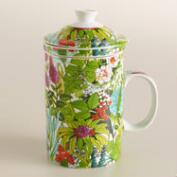 Fiji Foliage Porcelain Infuser Mug, Set of 2