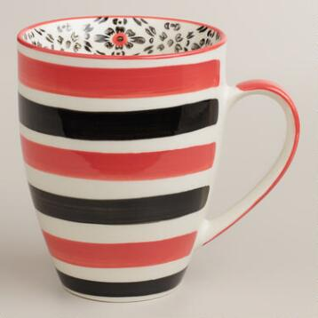 Red Stripe Holland Park Mugs, Set of 4