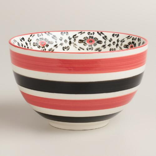 Red Stripe Holland Park Bowls, Set of 4