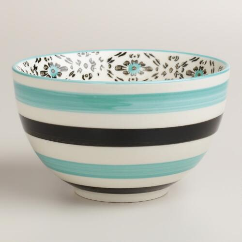 Turquoise Stripe Holland Park Bowls, Set of 4