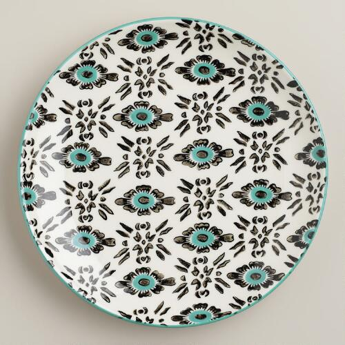Turquoise Stripe Holland Park Plates, Set of 4