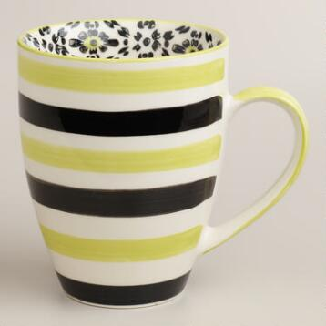 Green Stripe Holland Park Mugs, Set of 4