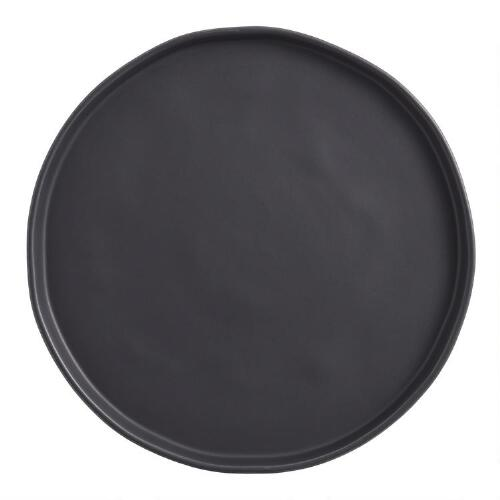 Black Organic Rimmed Dinner Plates, Set of 6