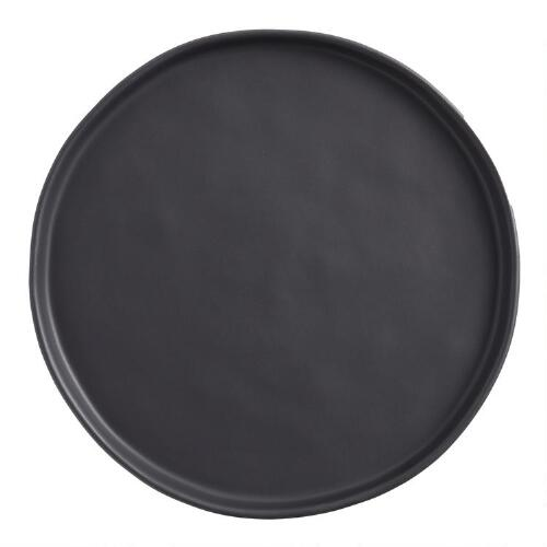 Black Organic Rimmed Salad Plates, Set of 6