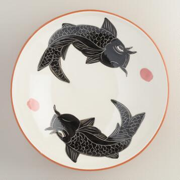 Koi Low Serving Bowl
