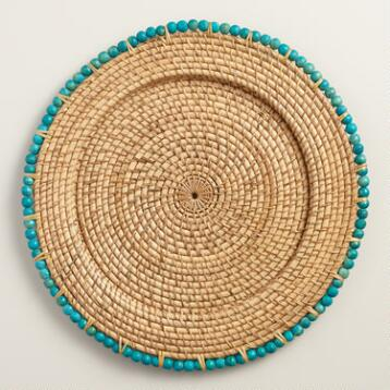 Lagoon Blue Beaded Rim Rattan Chargers, Set of 4
