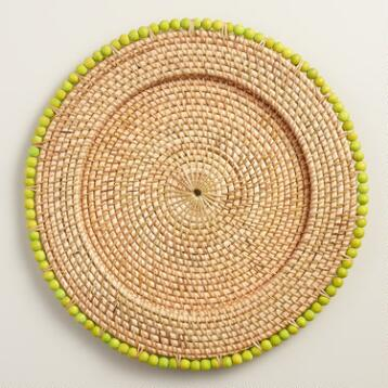 Apple Green Beaded Rim Rattan Chargers, Set of 4