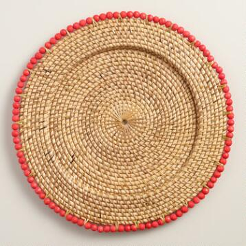 Coral Beaded Rim Rattan Chargers, Set of 4