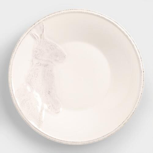 Ivory Distressed Bunny Plates, Set of 4