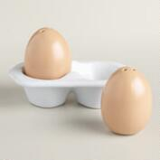 Brown Egg Salt and Pepper Shakers in Crate, Set of 2