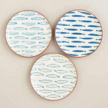 Riviera Fish Terracotta Plates, Set of 3