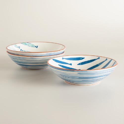 Riviera Fish Terracotta Bowls, Set of 3