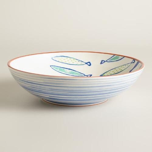 Riviera Fish Terracotta Serving Bowl