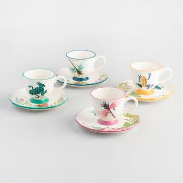Fiji Teacups and Saucers, Set of 4