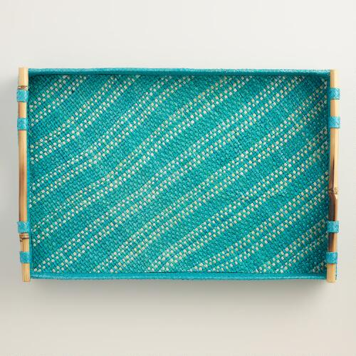 Lagoon Blue Stripe Pandan Tray