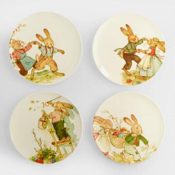 Vintage-Style Bunny Plates, Set of 4
