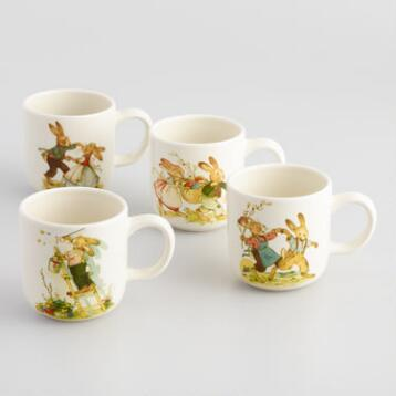 Vintage-Style Bunny Mugs, Set of 4